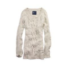 AE Women's Cable Knit L Sweater (Light Stone Heather) (£20) ❤ liked on Polyvore featuring tops, sweaters, shirts, american eagle, clothing & accessories, sleepwear, american eagle outfitters, pink cable knit sweater, heathered shirt and pink top
