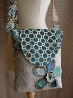 CROSSBODY HOBO Bag with FLAP Closure  Recycled by WhimsyEyeDesigns, $63.00