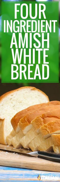 Simple Amish White Bread Recipe is a simple recipe that creates a soft and tender, slightly sweet white bread. It is so easy, it is nearly a no-fail recipe. This is a keeper! Amish Bread Recipes, Bread Machine Recipes, Banana Bread Recipes, Baking Recipes, Quick Recipes, Amish Sweet Bread Recipe, Easy White Bread Recipe, Best Bread Recipe, Easy Bread