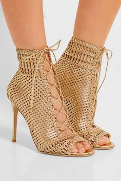 Heel measures approximately 105mm/ 4 inches Gold leather Lace-up front Made in Italy