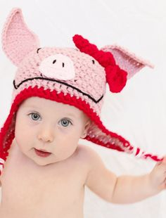 Olivia the Pig hat by HalliesClosetdotcom Crocheted Hats, Crochet Baby Hats, Knit Crochet, Pig Party, Pig Birthday, Animal Hats, Cute Hats, Little Pigs, Ear Warmers