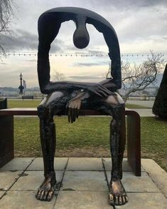 """Melancolie"" sculpture in Geneva - Grief 3d Zeichenstift, Losing A Child, Public Art, Grief, Amazing Art, Awesome, Cool Art, Funny Pictures, Artwork"