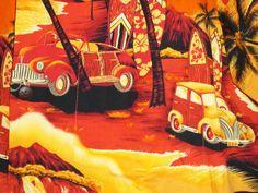 Royal Creations Surfboard Cars Orange Red Hawaiian Shirt Medium  #RoyalCreations #Hawaiian