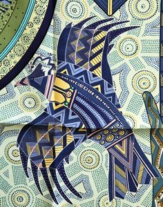 "RARE Hermes Paris Silk Scarf ""RÊVE D'AUSTRALIE"" in blues & Greens"