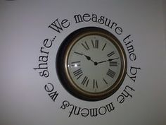 Vinyl letters around a vintage clock.