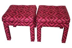 pair of parsons ottomans upholstered in a fantastic David Hicks La Fiorentina fabric in the magenta and wine colorway David Hicks, Pink Umbrella, Upholstered Ottoman, One Kings Lane, Violet, High Gloss, Pretty In Pink, Design Elements, Back To School
