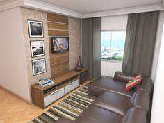 Painel centralizado na parede e menor que o rack dá leveza e permite um acabamento na parede.