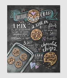 The scent of freshly-baked chocolate chip delights envelops the house like a warm hug...cant we make them every day? This cookie print has become a permanent fixture in our hearts and our homes.  ~~~~~~~~~~~~~~~~~~~~~~~~~~~~~~~~~~~~~~~~~~~~~~~~~~~~~~  Lovingly illustrated with a mix of cheer and whimsy, our prints add character to any space or occasion. Frame them around the home or surprise a special someone with these uniquely charming gifts.  All Lily & Val original chalkboard prints a...