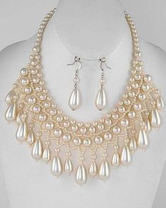 Teardrop Woven Charmer Faux Pearl Necklace & Earring Set Vintage Look Gold - good for court dress decoration?