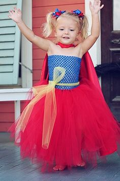 Two Tone Super Hero Cape, paired with a homemade tutu dress.