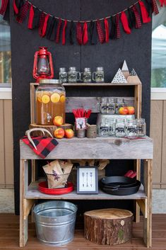 Check out the fantastic drink bar at this Lumberjack birthday party! Winter Birthday Parties, Birthday Party Themes, Birthday Ideas, 40 Birthday, Birthday Drinks, 50th Party, Birthday Decorations, Christmas Decorations, Birthday Party Checklist