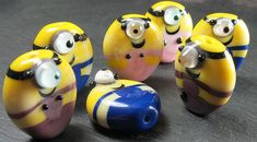 Minions in dungarees, free tutorial challenge for Beads of Courage - Lampwork Etc.