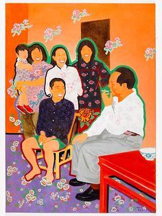 "Talking with Hunan Peasants, 1990  ""Every Chinese people is smiling. Flowers in people's heart and flowers on people's clothes are bright and splendid. The 50s is an age with hope, we are all dreaming of a golden future.""  — YU Youhan"