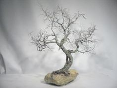 Copper wire tree - Bonsai style - Natural rock - recycled material - Wabi sabi - Moyogi - Informal upright