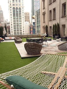Felix has a 6,000 square foot open-air rooftop terrace with hammocks and wicker seating.