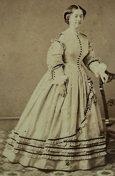 Civil War Era CDV Photo Portrait of A Lovely Young Woman in Stunning Hoop Dress   eBay That trim is so awesome!