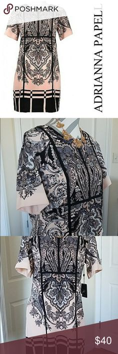 Adrianna Papell Midi Dress Versatile piece 💐 Reposhing  this fabulous dress because it's too small. Gorgeous Peach & Black design ~ Comfortable material perfect for wedding day guest or date night 🌹Fits like US 8 or US 10 Adrianna Papell Dresses Midi