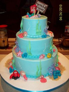 cake! My otehr fave...want to mix this with the otehr one into a one or 2 layer cake...I like all the ocean things and the birthday sign on top!