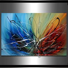 """LARGE ARTWORK Abstract painting 36"""" x 24"""" Modern Art Original Contemporary Art Deco Office, Lobby, Reception Oversize canvas large artwork"""