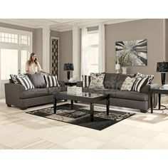 Levon - Charcoal - Sofa & Loveseat by Signature Design by Ashley. Get your Levon - Charcoal - Sofa & Loveseat at CLS Factory Direct, Columbus OH furniture store. Charcoal Living Rooms, Cream Living Rooms, Living Room Sets, Living Room Designs, Living Area, Home Goods Furniture, Living Room Furniture, Living Room Decor, Furniture Sets