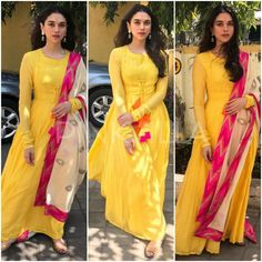 Aditi Rao Hydari attended an event in Mumbai earlier today looking pretty in her sunshine yellow look. She wore a yellow anarkali by label Vasavi whi. Stylish Sarees, Stylish Dresses, Fashion Dresses, Kurta Designs Women, Blouse Designs, Churidar Designs, Ethnic Outfits, Indian Outfits, India Fashion