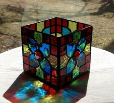 Stained Glass...Turquoise Flower...Candle Holder...