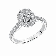 Artcarved Bridal: GENESIS, 31-V439, oval cut diamond engagement ring with diamond shared prong halo and straight shank setting. #ArtCarvedBridal