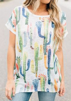 Cactus Printed Asymmetric O-Neck Blouse Summer Outfits, Summer Dresses, Cactus Print, Blouse Online, Stripe Print, Latest Fashion For Women, Blouses For Women, Floral Tops, Style Inspiration