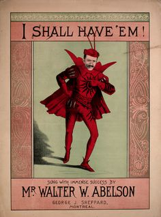 """Vintage sheet music.. I actually read this as """"I Shall Shave 'Em"""" the first time through. Made it infinitely more funny!"""