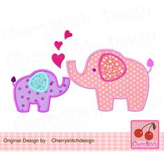 Two Elephants, Heart Elephants,Mom and Baby,Big sister and Lil Sister Digital…