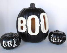 Pottery Barn Inspired Black BOO Pumpkin Luminary