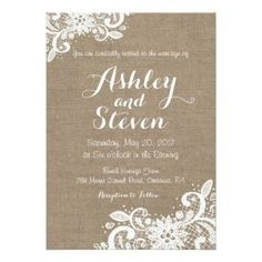 Burlap and Lace Wedding Invitation - Rustic Country Wedding Invitations by Unique Rustic Wedding Invitations