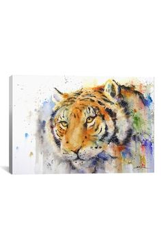 iCanvas Tiger Gallery Wrapped Canvas Art Print by Dean Crouser Art Watercolor, Watercolor Animals, White Tiger Pictures, Tiger Painting, Painting Canvas, Ink Painting, Tiger Art, Tiger Tiger, Wow Art