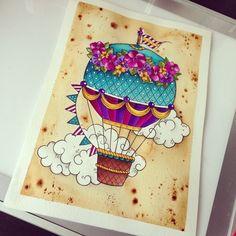 Love the idea of a hot air balloon tattoo