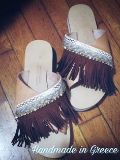 Handmade leather sandals. Flatform x-strap sandals with two wide leather straps,decorated with suede fringes and strass. Boho chic style...