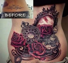 Good Cover up Tattoo Roses Clock Mirror Ink.                                                                                                                                                                                 More