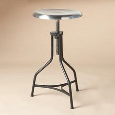 "MODERN TIMES FACTORY STOOL $195 or 2 @ $175 14.5""Diam. adjusts 22"" to 28""H"