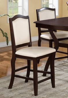 Set of 2 dark espresso finish wood and cream faux leather counter height bar chairs