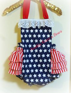 2795a999b Girls 4th of July Patriotic Romper, Baby Girls July Fourth Outfit, Stars n  Stripes, All American Girl Outfit, Girls Pageant Outfit from Needles Knots  n Bows