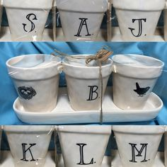"""personalize your spring flower display with this whimsical Rae Dunn flower pot set featuring the center pot with a single initial. Pots measure 4 1/2"""" H, 4"""" diameter. Set includes 3 flower pots and tray.    each set includes (1) pot with initial. Available letters: A, B, J,L, K, M, S.     Plus shipping 