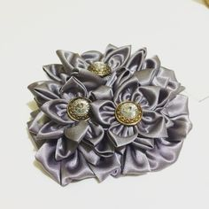 Handmade silver satin flower fascinator by AniMaeFlorale on Etsy