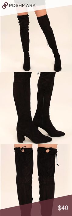 Over the Knee Black Suede Boots Never been worn, still in the box!! 3 inch block heel with a lightly cushioned insole. The toes are pointed and they have a rubber sole! I love these boots but just can't afford to keep them! Size 8! Anita Shoes Over the Knee Boots