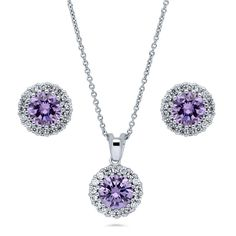 This 2-piece halo jewelry set's romantic palette adds the perfect amount of glamour you desire. Made of rhodium plated fine 925 sterling silver. Set with 4.605 carat round cut purple and round cut clear cubic zirconia in prong and pave setting.  Earrings measure 0.43 inch in diameter. Edge posts with butterfly backs. Pendant measures 0.7 inch in length, 0.4 inch in width. Chain measures 17 inch with 2 inch extension in length, 1mm in width. Lobster claw clasp.