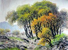 """북한 인민예술가 """"리창""""그림 『가을 계곡』. 1942년 함경북도 청진시에서 출생하여 평양미술대학 조선화과를 졸업한 후 김철주 사범대학 교원으로 있었으며, 시인이었던 리창의 아버지와 정종여 사이에 친분이 두터웠던 관계로, 전통에"""
