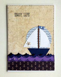 Card nautical marine - kort maritim nautisk - Karte - sailboat waves sea - JKE design