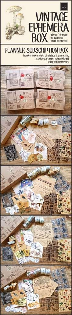 R.atelier Vintage Ephemera Box a box of timeless old fashioned visual aesthetics - each box will include a wide variety of vintage theme washi, stickers, stamps, notecards & other paper art