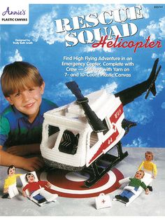 Make a Rescue Squad Helicopter in Plastic canvas pattern - Find high-flying adventure in an emergency copter, complete with crew! Designs are stitched on 10- and 7-count plastic canvas using worsted-weight yarn. (aff link)