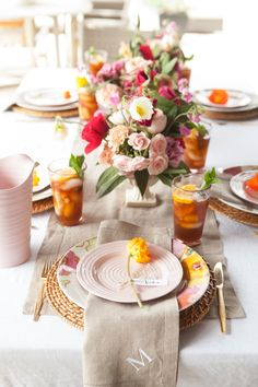 neutral table setting with pops of color