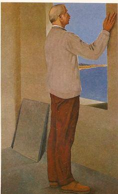 Pedro León Castro, Auto-retrato con paisaje marino, 1973 Painting, Scenery, Autos, Artists, Venezuela, Historia, Painting Art, Paintings, Painted Canvas