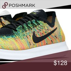 """HUGE  PRICE DROPMEN /WOMEN NIKE FREE FLYKNIT BRAND NEW IN BOX Color:Black/Blue Lagoon/Orange Can be worn as Casual or Running! RETAIL: $128.00 ▶️NO REASONABLE OFFER REJECTED This awesome color was NOT sold in """"Women's Nike Free Rn FLYKNIT"""", had purchased the Men's.   Unfortunately I need a certain type of shoe & these don't work for me (Im disabled and it's hard to find shoes).  THESE Shoes are SOLD OUT in Size 7 EVERYWHERE!  ACCORDING TO NIKE: WOMEN's SIZE 8.5/ MEN'S 7 Size…"""